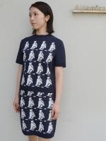 MUVEIL WORK ペンギンジャガード半袖ニットPO
